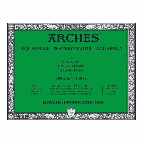 Arches Watercolor Blocks - Natural White 12 x 16 in Cold Press 300gsm (140lb)