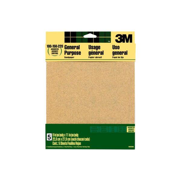 3M Sandpaper 220 Grit 9in W x 11in L - Very Fine