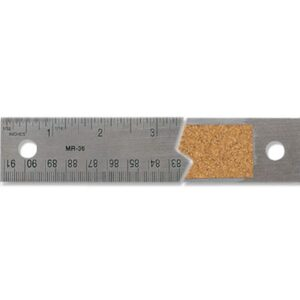 Alumicolor Stainless Steel Cork Backed Rulers - Silver 36 in