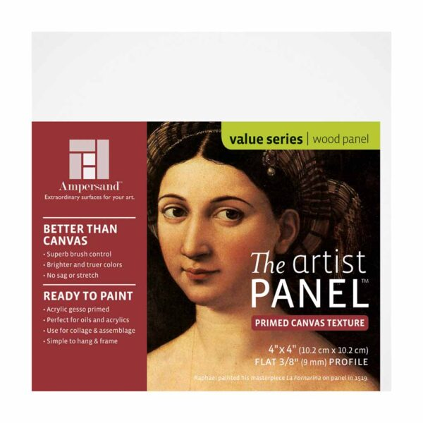 Ampersand Artist Panel Canvas Texture - Flat 3/8 in Profile 4 in x 4 in