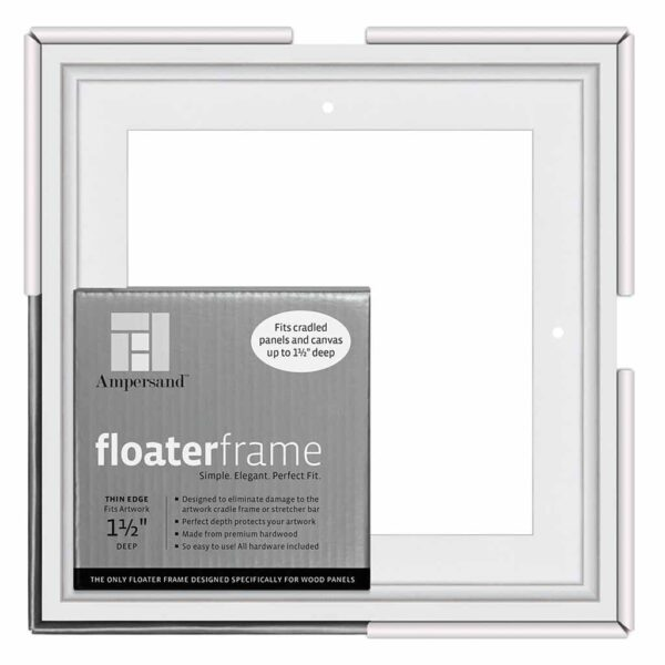 Ampersand FloaterFrames Thin - White 1-1/2 in Profile 8 in x 8 in