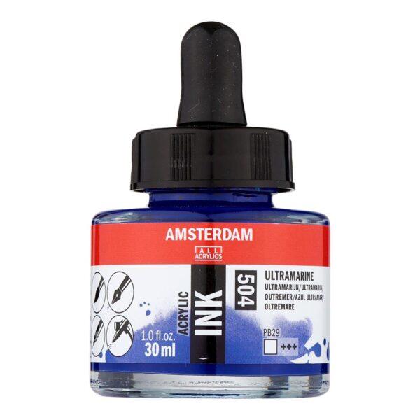 Amsterdam Acrylic Inks - Ultramarine - 504 30 ml (1 FL/OZ)