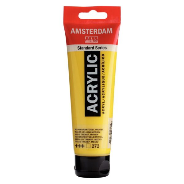 Amsterdam Standard Acrylic Colors - Transparent Yellow Medium 272 120 ml (4.1 OZ)