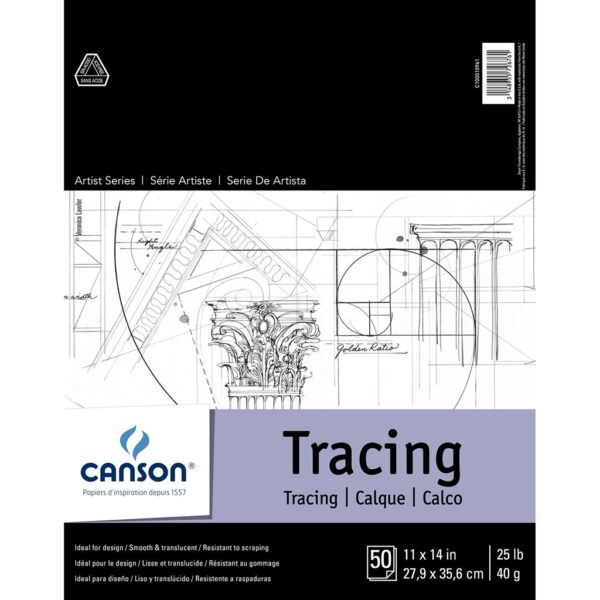 Canson Artist Series Tracing Pads - Natural White 11 x 14 in 40gsm (25lb)