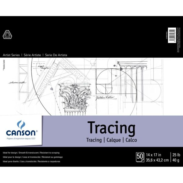 Canson Artist Series Tracing Pads - Natural White 14 x 17 in 40gsm (25lb)