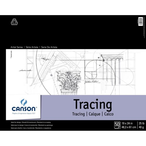 Canson Artist Series Tracing Pads - Natural White 19 x 24 in 40gsm (25lb)