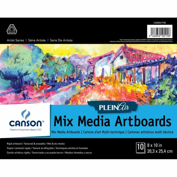 Canson Plein Air Mix Media Artboard - White 8 x 10 in 2 Ply (1.5mm)