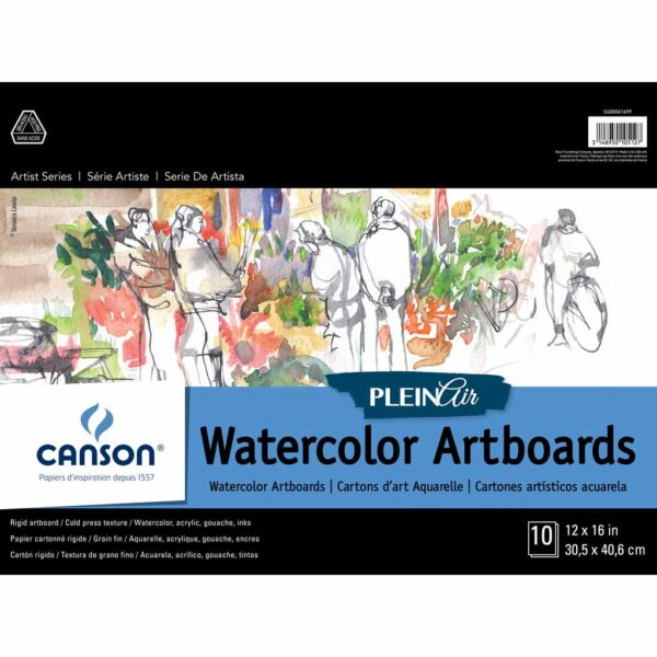 Canson Plein Air Watercolor Artboard - White 12 x 16 in 2 Ply (1.5mm)