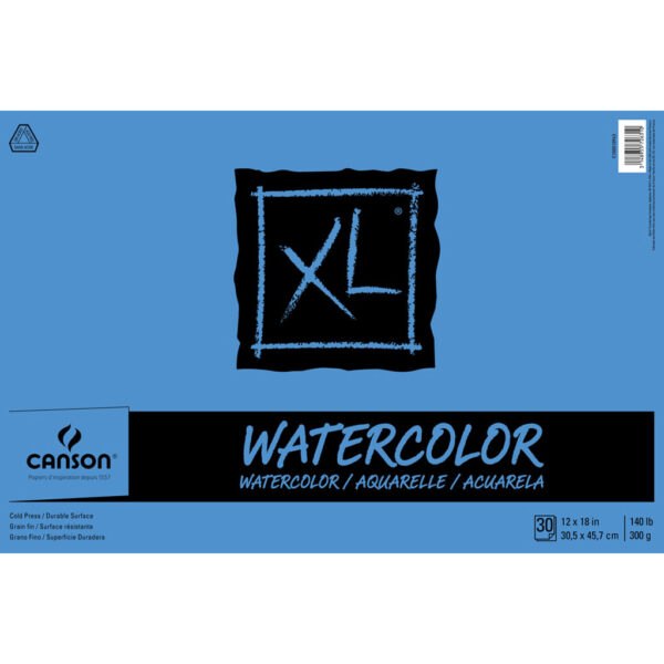 Canson XL Watercolor Pads - Natural White 12 x 18 in Cold Press 300gsm (140lb)