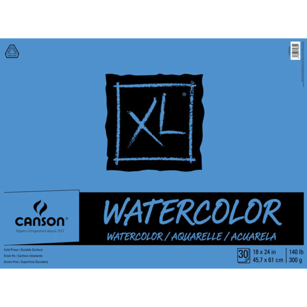 Canson XL Watercolor Pads - Natural White 18 x 24 in Cold Press 300gsm (140lb)