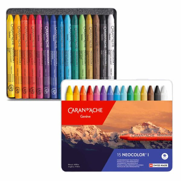 Caran dAche Neocolor I Wax Pastel Sets - Set 15 Color Tin Box