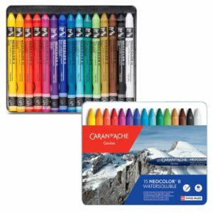Caran dAche Neocolor II Artists Crayon Sets - 15 Color Tin Box