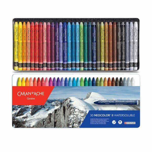 Caran dAche Neocolor II Artists Crayon Sets - 30 Color Tin Box