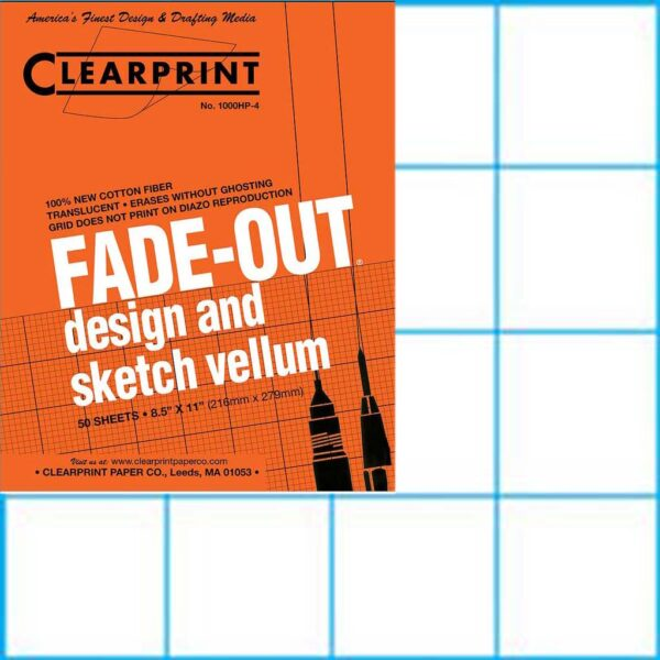 """Clearprint Design Vellum 1000H-4 Fade-Out Pad 4 x 4 Grid 8.5"""" x 11"""""""