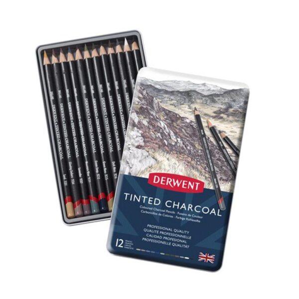 Derwent Tinted Charcoal Pencil Sets - Tin Box Set of 12