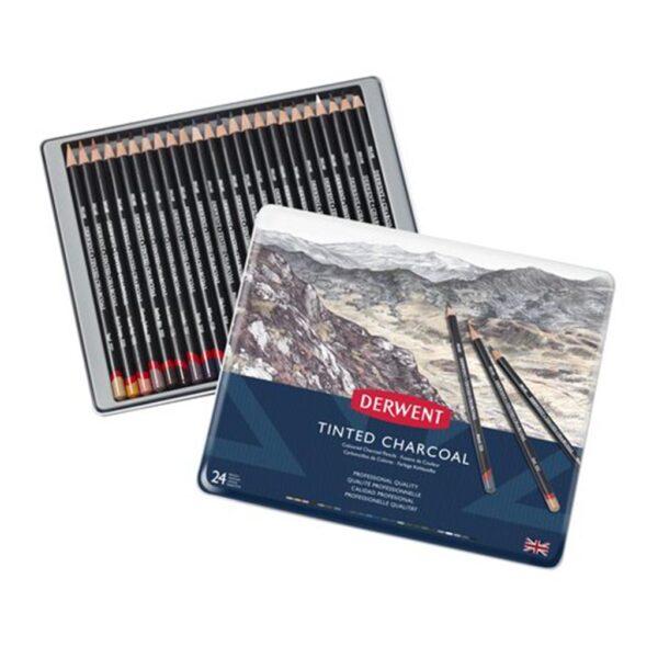 Derwent Tinted Charcoal Pencil Sets - Tin Box Set of 24
