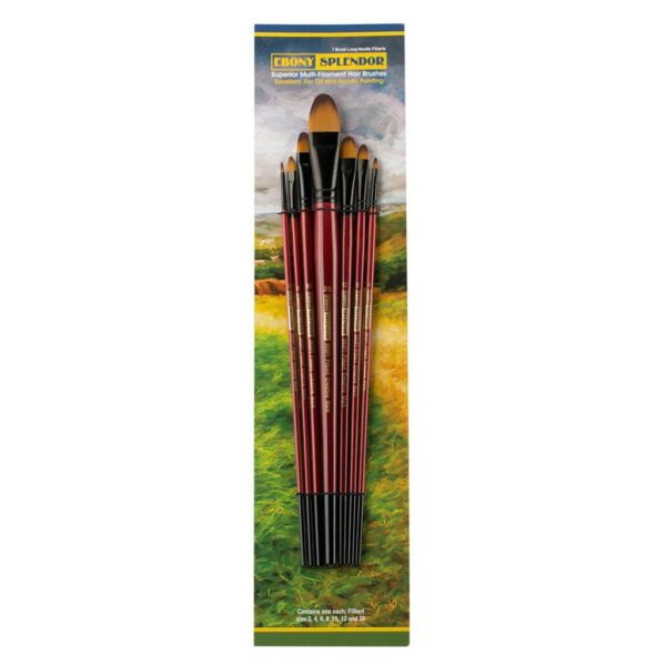 Creative Mark Ebony Splendor Brush Sets - Filbert Long Handle Set of 7