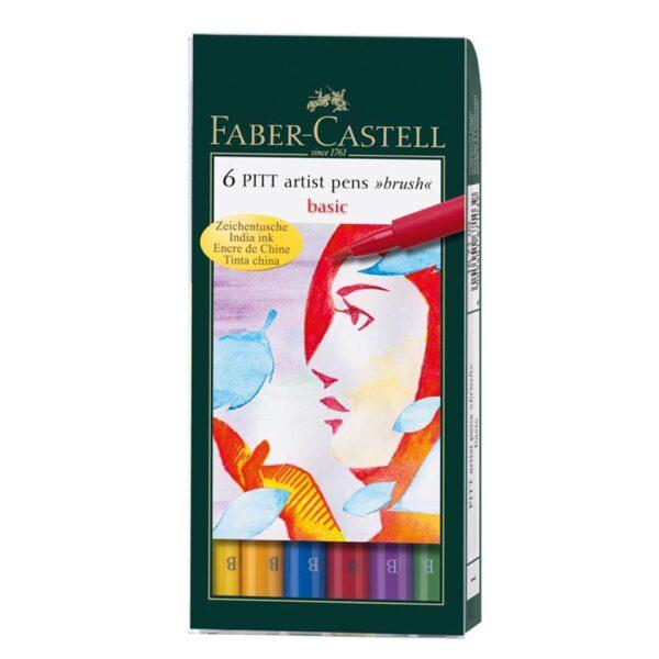 Faber Castell Pitt Artist Pen Sets - Basic Wallet Set of 6