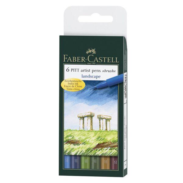 Faber Castell Pitt Artist Pen Sets - Landscape Wallet Set of 6