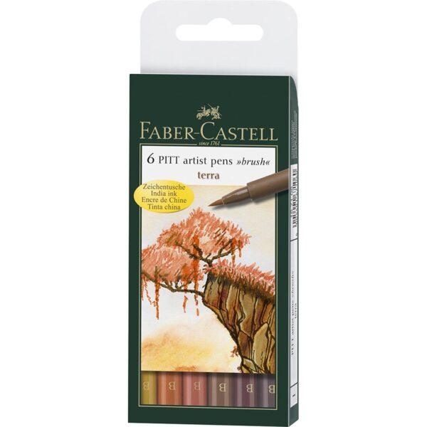 Faber Castell Pitt Artist Pen Sets - Terracotta Wallet Set of 6
