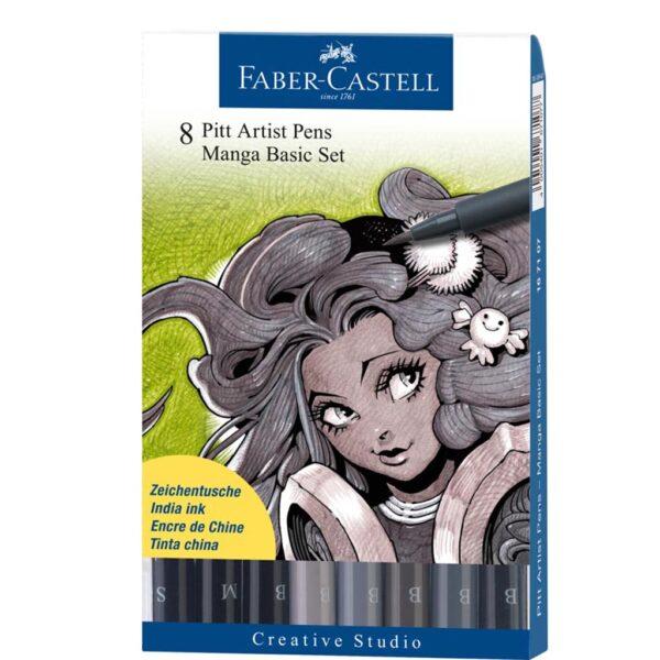 Faber Castell Pitt Artist Pen Sets - Manga Basic Wallet Set of 8