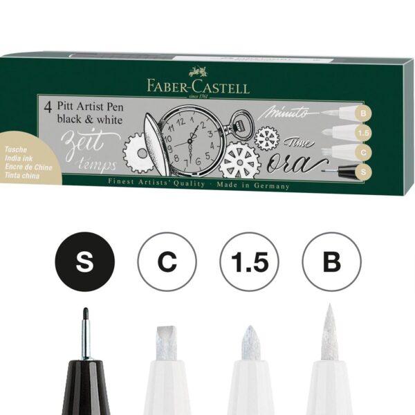 Faber Castell Pitt Artist Pen Sets - Black/White Wallet Set of 4