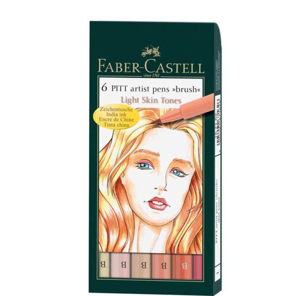 Faber Castell Pitt Artist Pen Sets - Portrait Wallet Set of 6