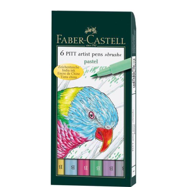 Faber Castell Pitt Artist Pen Sets - Pastel Wallet Set of 6