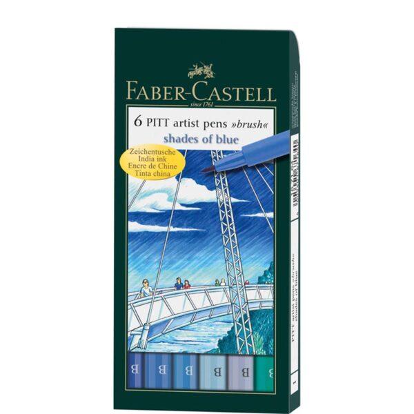 Faber Castell Pitt Artist Pen Sets - Shades of Blue. Wallet Set of 6