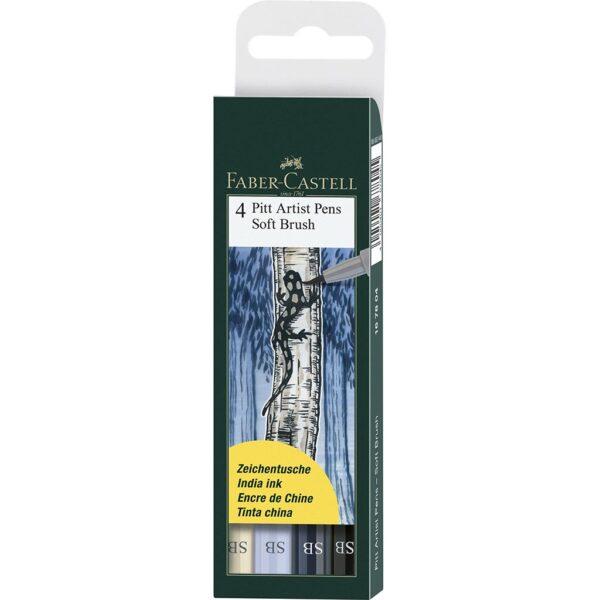 Faber Castell Pitt Artist Pen Sets - Soft Brush Grey Wallet Set of 4
