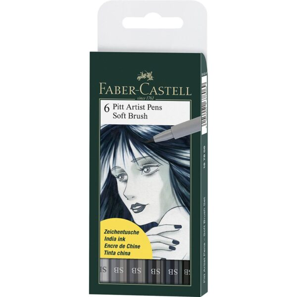 Faber Castell Pitt Artist Pen Sets - Soft Brush Grey Wallet Set of 6