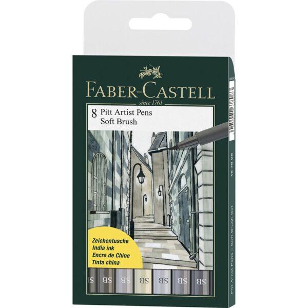 Faber Castell Pitt Artist Pen Sets - Soft Brush Grey Wallet Set of 8