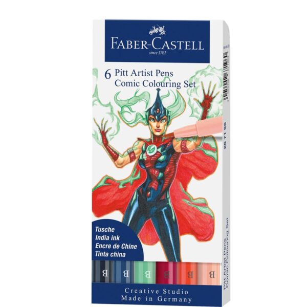 Faber Castell Pitt Artist Pen Sets - Comic Wallet Set of 6