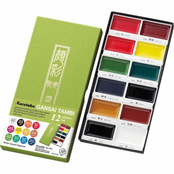 Kuretake Gansai Tambi Watercolors - Pan Set of 12