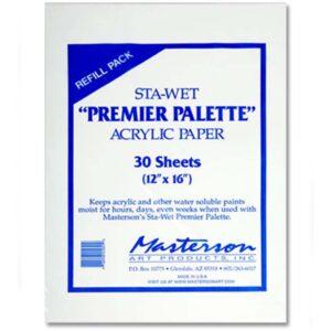 Masterson Sta-Wet Premier Palette - Acrylic Paper 30 Sheet Refill 12in x 16in