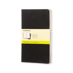 Moleskine Cahiers Journal Large Plain 3Pk Black 5X8.25 In