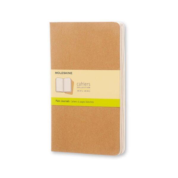 Moleskine Cahiers Journal Large Plain 3Pk Kraft 5X8.25 In