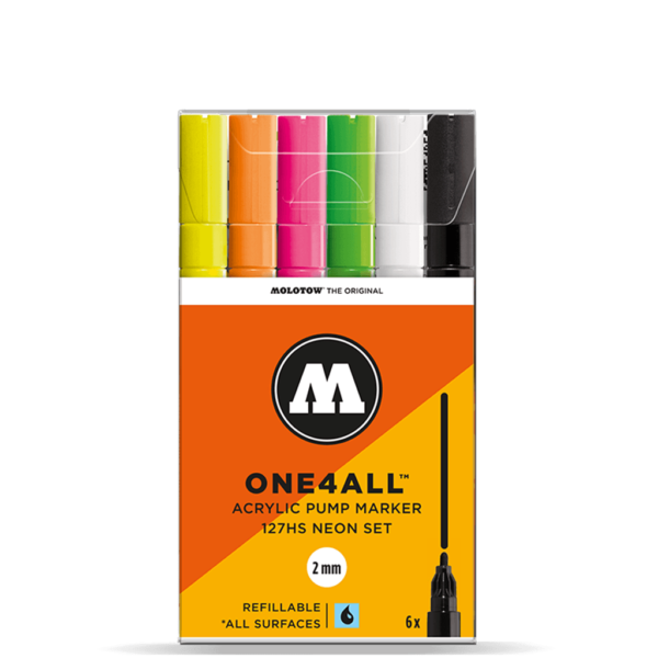 Molotow One4All Acrylic Marker Sets - 127HS Neon Set 6 x 2mm
