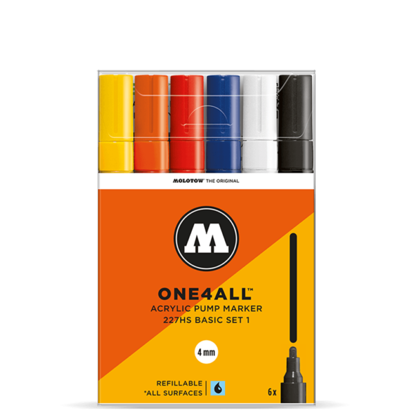 Molotow One4All Acrylic Marker Sets - 227HS Basic Set 6 x 4mm