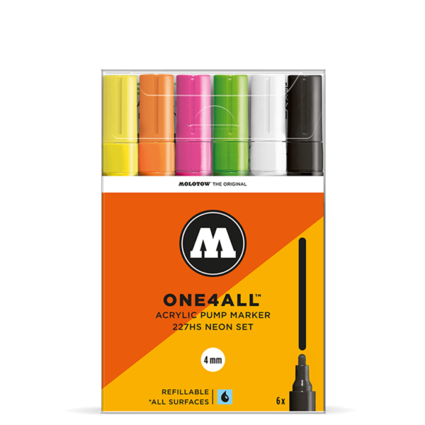 Molotow One4All Acrylic Marker Sets - 227HS Neon Set 6 x 4mm