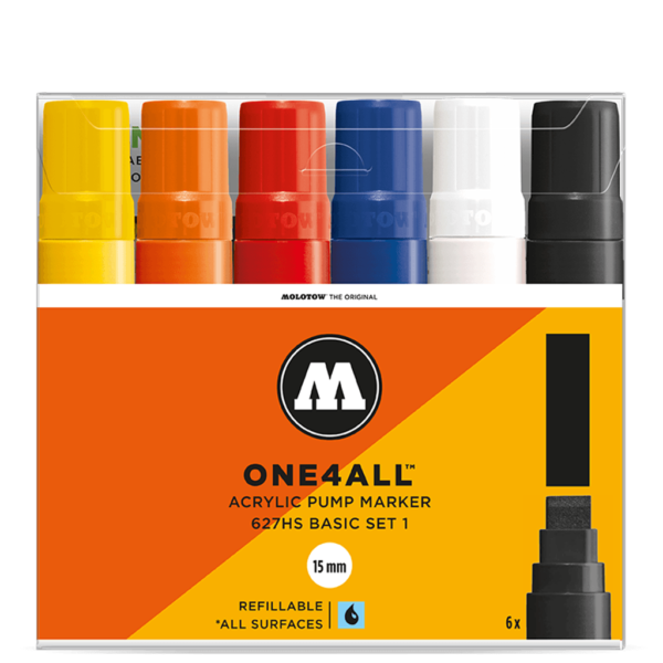 Molotow One4All Acrylic Marker Sets - 627HS Basic Set 6 x 15mm