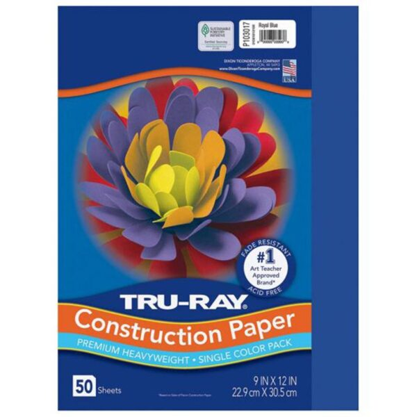 Pacon Tru-Ray Construction Paper - Blue 9 x 12in (50 PK)