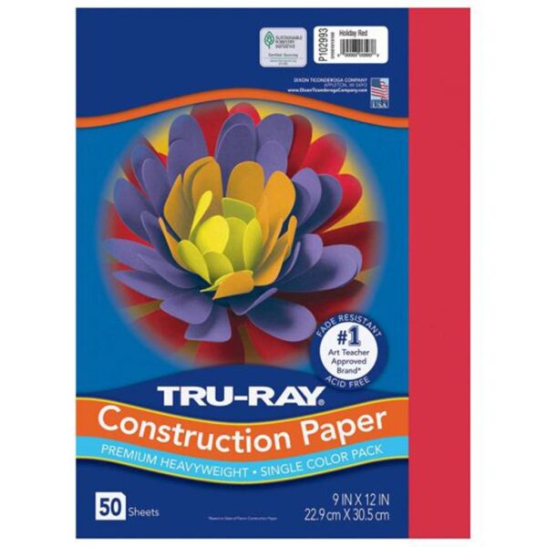 Pacon Tru-Ray Construction Paper - Red 9 x 12in (50 PK)
