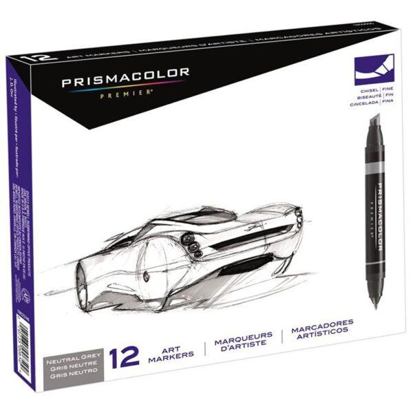 Prismacolor Premier Double-Ended Art Marker Sets - Neutral Grays Set of 12