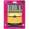 Sakura Pigma Micron Pen Sets - Black Set of 8