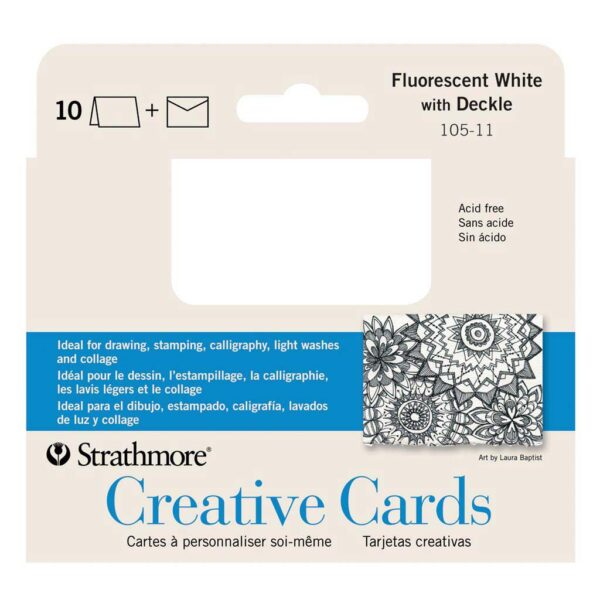 Strathmore Announcement Cards - Fluorescent White/Deckle Pack of 10 3.5 x 5 in