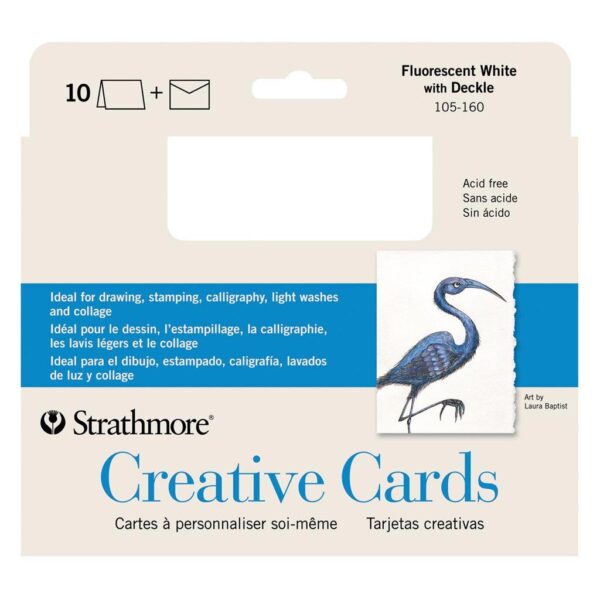 Strathmore Creative Greeting Cards - Fluorescent White/Deckle Pack of 10 5 x 7 in