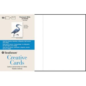 Strathmore Creative Greeting Cards - Fluorescent White/Deckle Pack of 50 5 x 7 in