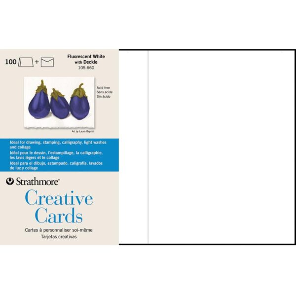 Strathmore Creative Greeting Cards - Fluorescent White/Deckle Pack of 100 5 x 7 in