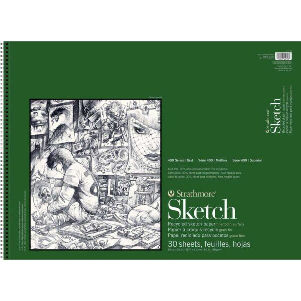 Strathmore 400 Series Recycled Sketch Pads - 18 x 24 in Fine Surface 89gsm (60lb)